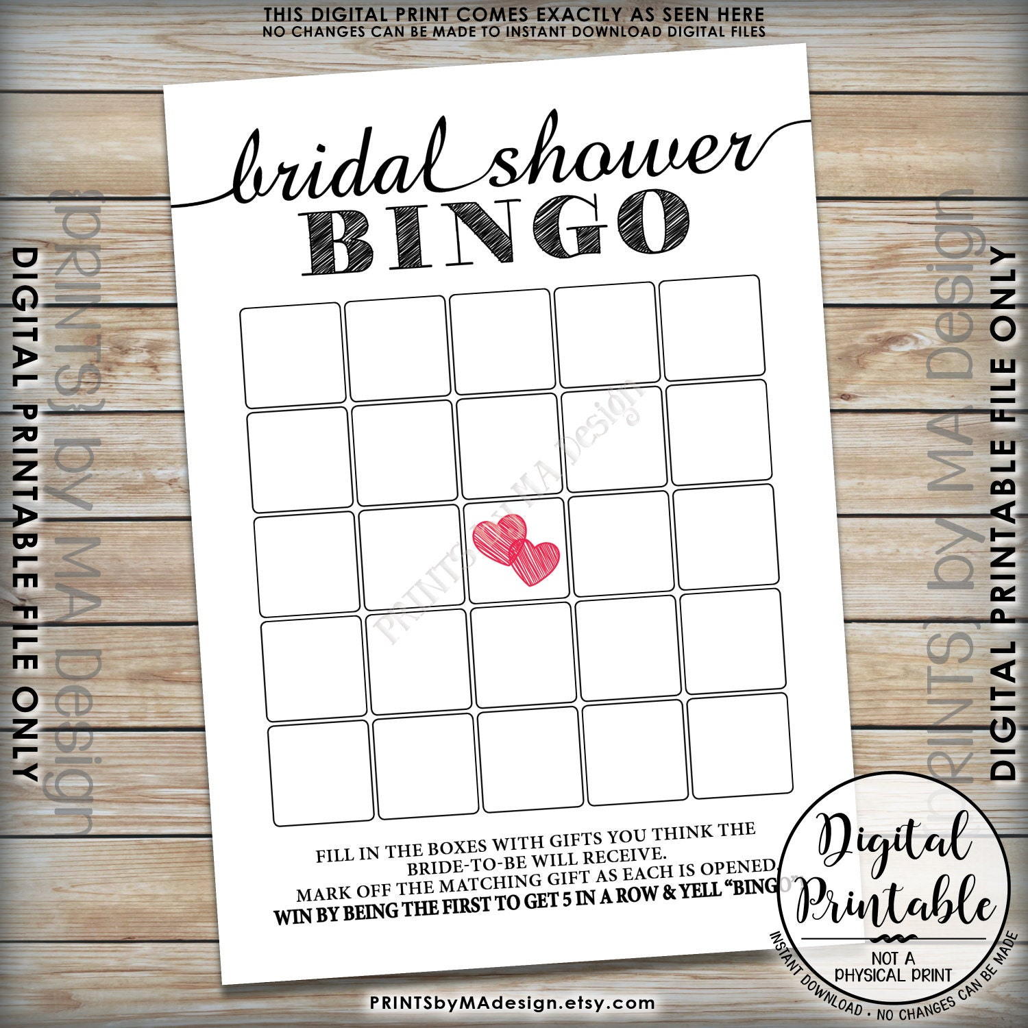 Bridal Shower Bingo Cards Printable Blank
