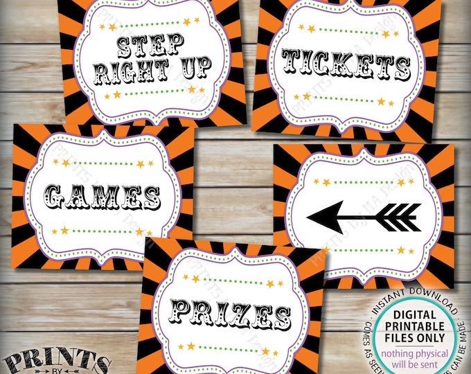"""Halloween Carnival Signs, Carnival Games, Prizes, Tickets, Arrow, Carnival Bundle Pack, Circus Party, Five PRINTABLE 8x10/16x20"""" Signs <ID>"""