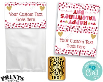 """Valentine's Day Goodie Bag Labels, Valentine's Day Party Favors, PRINTABLE 8.5x11"""" Sheet of 4x5"""" Treat Cards <Edit Yourself with Corjl>"""