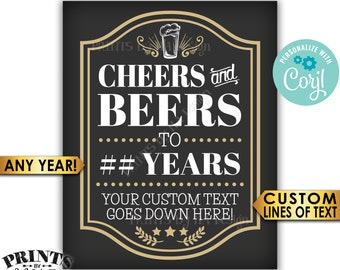 """Cheers and Beers Sign, Cheers to Years, Birthday or Retirement, PRINTABLE 8x10/16x20"""" Party Sign, Custom Text <Edit Yourself with Corjl>"""