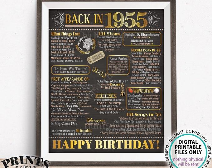 "Back in 1955 Birthday Poster Board, Flashback to 1955 Birthday Decoration, '55 B-day Gift, PRINTABLE 16x20"" Sign, Birthday Decor <ID>"