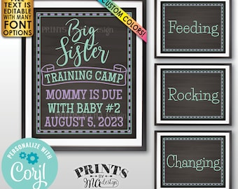 """Big Sister Training Pregnancy Announcement Signs, Four Editable PRINTABLE 8x10/16x20"""" Chalkboard Style Signs <Edit Yourself w/Corjl>"""