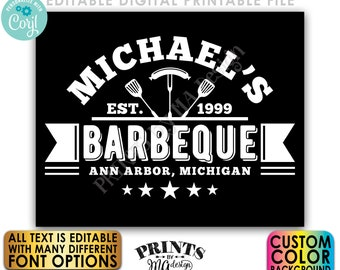 """Editable BBQ Sign, Backyard Barbecue, Barbie Grill Smokehouse, Custom Color Background, PRINTABLE 8x10/16x20"""" Sign <Edit Yourself w/Corjl>"""