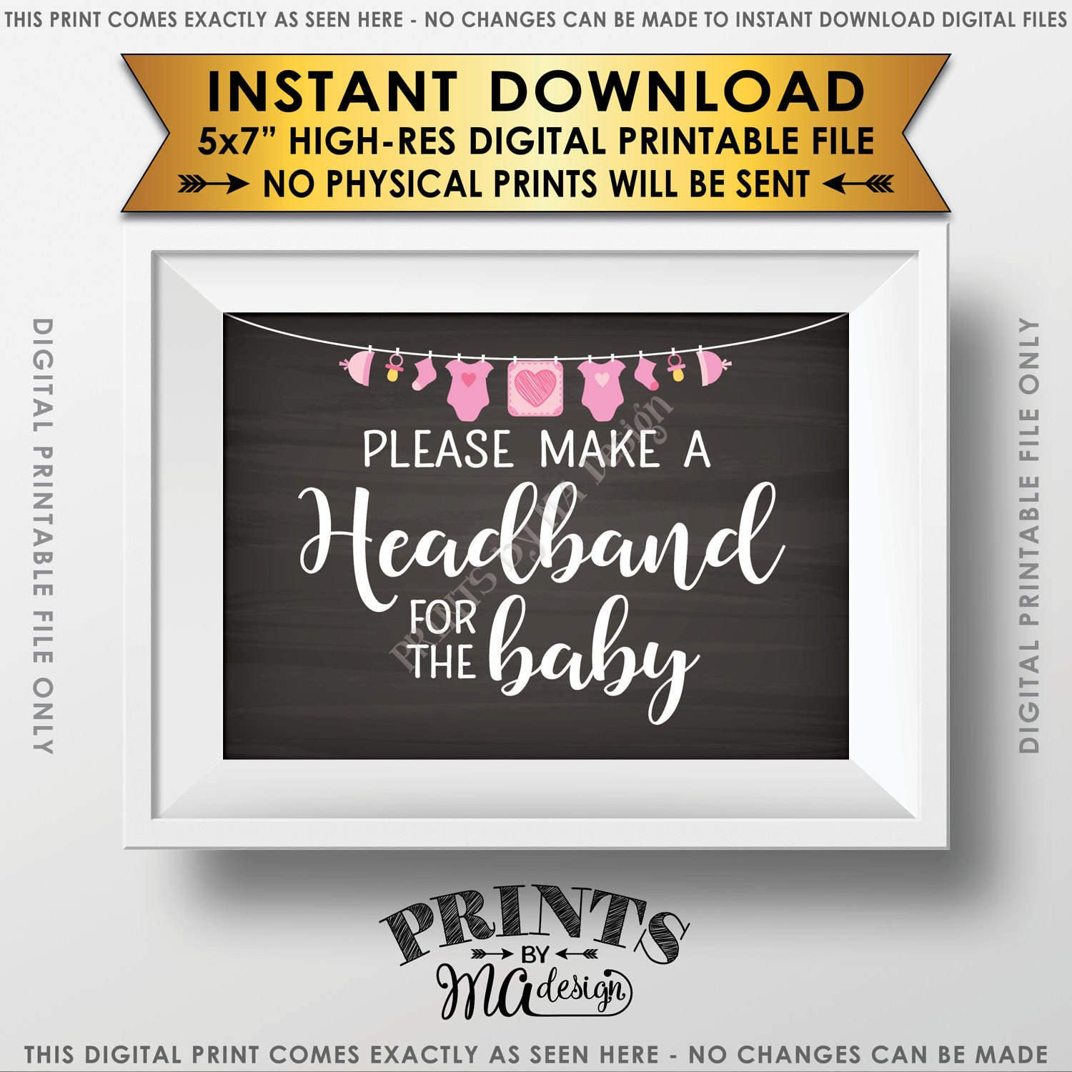 Headband Making Station Sign Baby Shower Headband Make A
