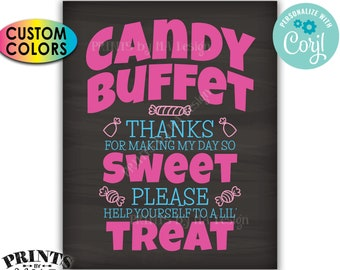 """Candy Buffet Sign, Thanks For Making My Day So Sweet Take a Treat, PRINTABLE 8x10/16x20"""" Chalkboard Style Sign <Edit Yourself with Corjl>"""