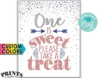 """One is Sweet Please Take a Treat Sign, First Birthday Party Favors, Silver Glitter, Custom PRINTABLE 8x10"""" Sign <Edit Yourself with Corjl>"""