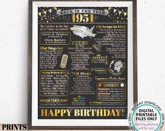"""Back in the Year 1951 Birthday Sign, Flashback to 1951 Poster Board, '51 B-day Gift, Bday Decoration, PRINTABLE 16x20"""" Sign <ID>"""