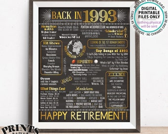 "1993 Flashback Poster, Retirement Party Sign, Flashback to 1993 USA History Back in 1993, Chalkboard Style PRINTABLE 16x20"" Retire Sign <ID>"