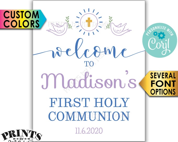 """First Communion Welcome Sign, First Holy Communion, First Eucharist, PRINTABLE 8x10/16x20"""" Sign <Edit Yourself with Corjl>"""