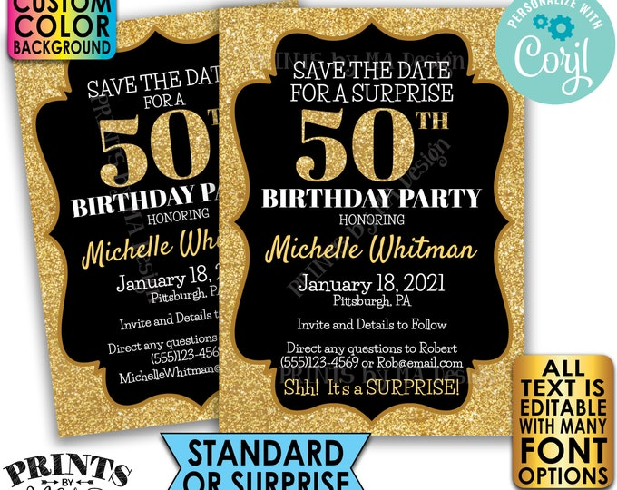 """Gold Glitter Birthday Party Save the Date, Surprise or Standard Invite, Custom PRINTABLE 5x7"""" Digital File <Edit Yourself with Corjl>"""