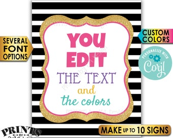 """Custom Sign, Design a Poster, Choose Your Text/Colors, Black & Gold Glitter PRINTABLE 8x10/16x20"""" Portrait Signs <Edit Yourself with Corjl>"""