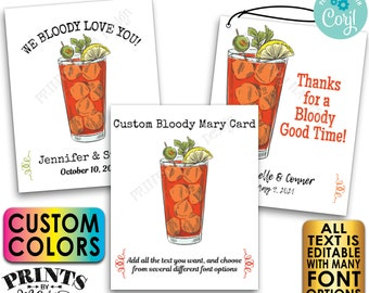 """Bloody Mary Tags or Cards, Bloody Mary Drink Favor, PRINTABLE 8.5x11"""" Sheet of 4x5"""" Editable Tags or Cards <Edit Yourself with Corjl>"""
