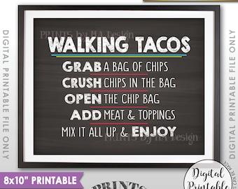 "Walking Tacos Sign, Taco Bar Taco Sign, Cinco de Mayo, Sweet Sixteen Birthday Graduation 8x10"" Chalkboard Style Printable Instant Download"