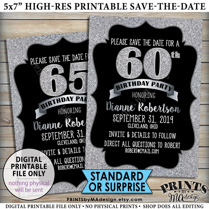 Birthday Party Save The Date Silver 30th 40th 50th
