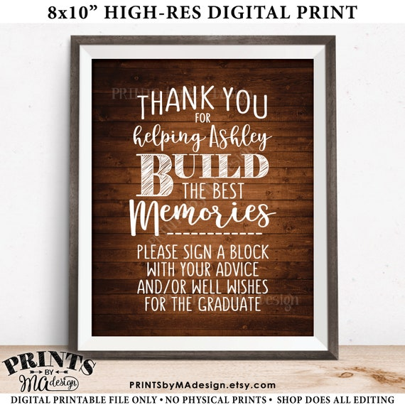 thanks for helping build memories graduation memories sign a etsy