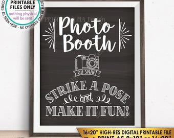 """Photobooth Sign, Strike a Pose & Make it Fun Photo Booth Selfie Wedding Sign, PRINTABLE 8x10/16x20"""" Chalkboard Style Instant Download Sign"""