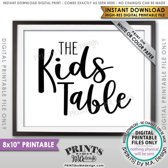 Wedding Kids Table Sign Reception Activities For Kids Table Etsy