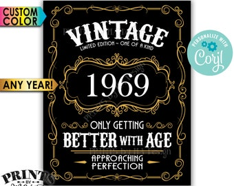 """Vintage Birthday Sign, Better with Age Liquor Themed Party, Custom Year & Color, PRINTABLE 8x10/16x20"""" Sign <Edit Yourself with Corjl>"""