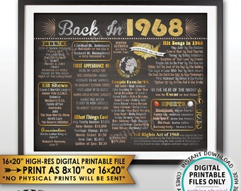 "Back in 1968 Flashback Poster Flashback to 1968 History Birthday Anniversary Reunion, Chalkboard Style PRINTABLE Landscape 16x20"" Sign <ID>"