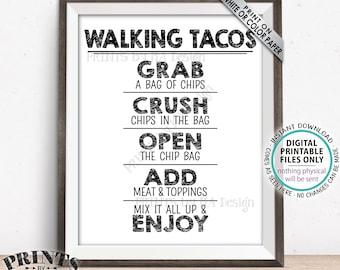 "Walking Tacos Sign, Taco Bar Fiesta, Cinco de Mayo Celebration, Wedding Tacos, PRINTABLE 8x10/16x20"" Tacos Sign <ID>"