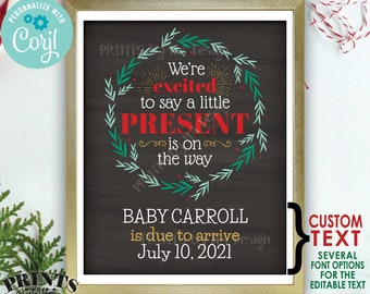 """Christmas Pregnancy Announcement, Little Present on the Way, Xmas Wreath, PRINTABLE 8x10/16x20"""" Baby Reveal Sign <Edit Yourself with Corjl>"""