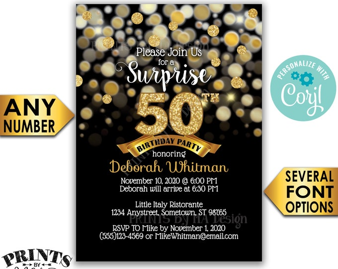 "Surprise Birthday Party Invitation, Black & Gold Glitter Birthday Invite, PRINTABLE 5x7"" Golden Bday Invite <Edit Yourself with Corjl>"