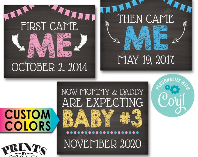 3rd Baby Pregnancy Announcement, First Came Me Then Me Now Baby #3, PRINTABLE Baby Number 3 Reveal Signs <Edit Yourself with Corjl>