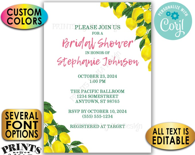 "Lemon Bridal Shower Invitation, Tuscan Garden Party, Summer Wedding Shower, Custom 5x7"" Digital Printable File <Edit Yourself with Corjl>"