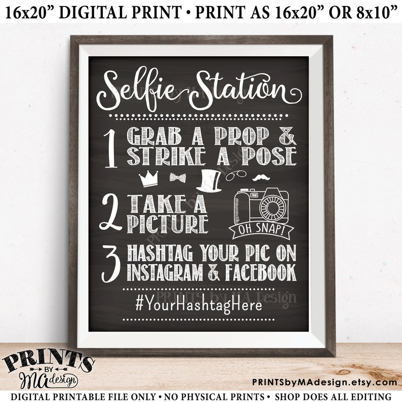 graphic about Selfie Station Sign Free Printable identified as Selfie Station Signal, Proportion upon Instagram Fb, PRINTABLE 8x10/16x20\u201d Chalkboard Layout Hashtag Indication