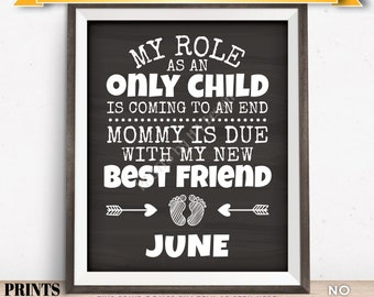 Baby Number 2 Pregnancy Announcement, My Role as an Only Child is Coming to an End in JUNE Dated Chalkboard Style PRINTABLE Sign <ID>