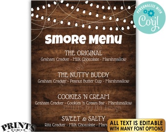 """Editable S'more Sign, S'mores Menu, Custom PRINTABLE 8x10/16x20"""" Rustic Wood Style Sign, Smore Station, Lights <Edit Yourself with Corjl>"""