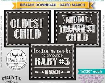 3rd Baby Pregnancy Announcement, Oldest Middle Youngest, Third Child due MARCH Dated Chalkboard Style PRINTABLE Pregnancy Reveal Signs <ID>