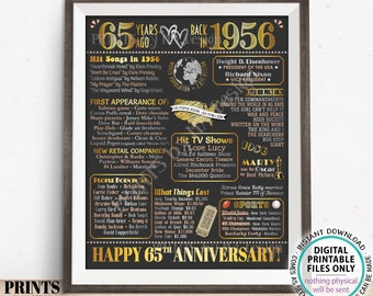 """65th Anniversary Poster Board, Back in 1956 Flashback 65 Years, Married in 1956 Anniversary Gift, PRINTABLE 16x20"""" 1956 Sign <ID>"""