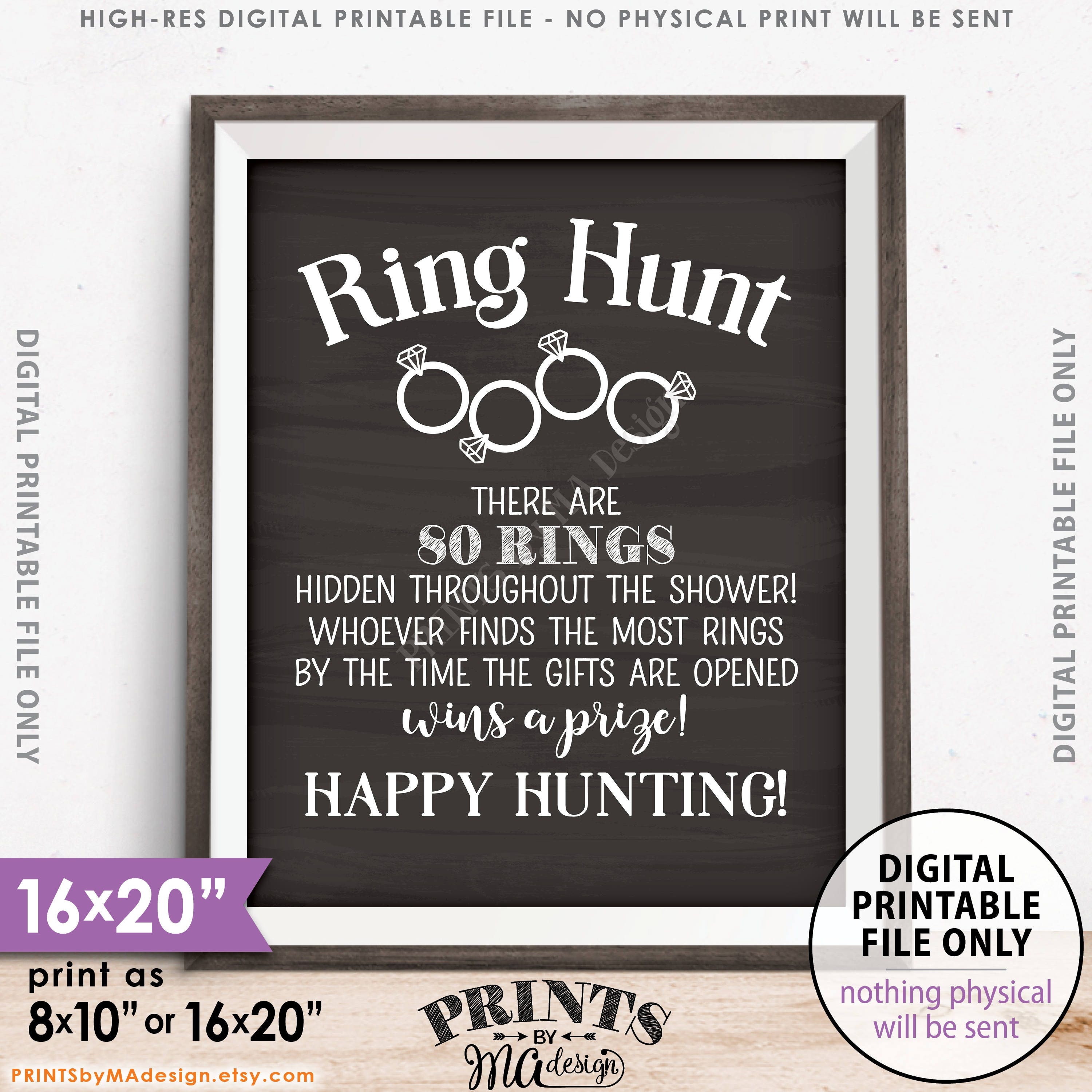 ring hunt game ring hunt sign bridal shower game ring scavenger hunt game for wedding shower chalkboard style printable 8x1016x20 sign