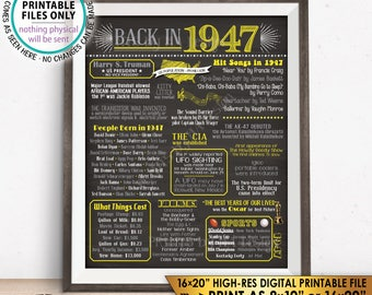 "1947 Flashback Poster, Flashback to 1947 USA History Back in 1947, Birthday Anniversary, Yellow, Chalkboard Style PRINTABLE 16x20"" Sign <ID>"