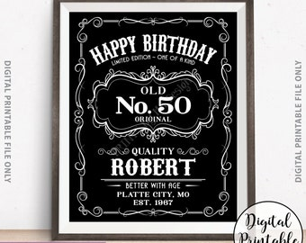 Happy Birthday Sign, Vintage Whiskey Themed Birthday Poster, Better with Age Sign, Black & White Digital PRINTABLE File