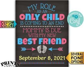 Baby Number 2 Pregnancy Announcement, Role as an Only Child is Coming to an End, PRINTABLE Baby #2 Reveal Sign <Edit Yourself with Corjl>