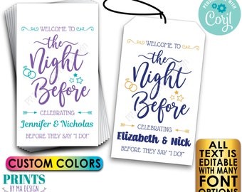 """Welcome to the Night Before Editable Rehearsal Dinner Gift Bag Tags, 2x3.5"""" Cards, PRINTABLE 8.5x11"""" Digital File <Edit Yourself with Corjl>"""