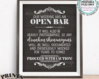 "Open Bar Sign, Drunken Shenanigans Sign, Alcohol Wedding Documented Bar Caution Sign, PRINTABLE 8x10/16x20"" Chalkboard Style Bar Sign <ID>"