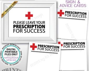 "Please Leave Your Prescription for Success Med School Grad Advice Nurse Graduation, PRINTABLE 5x7"" Sign & 3x3"" Advice Cards on 8.5x11"" Sheet"