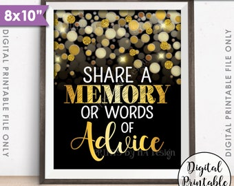 """Share a Memory or Words of Advice Sign, Graduation Party, Birthday, Retirement, Black & Gold Glitter 8x10"""" Printable Instant Download"""