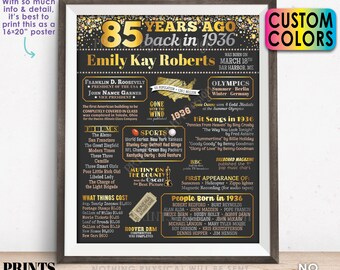"""85th Birthday Poster Board, Back in 1936 Flashback 85 Years Ago B-day Gift, Custom PRINTABLE 16x20"""" Born in 1936 Sign"""