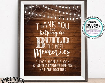 """Sign a Block Sign, Thank You for Helping Me Build Memories, Graduation, Retirement, Jenga,  8x10"""" PRINTABLE Rustic Wood Style Sign <ID>"""