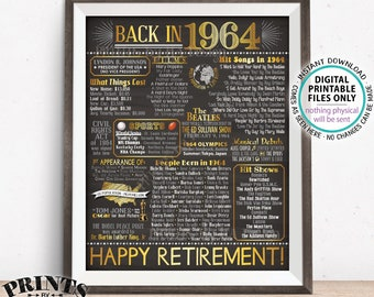 """Retirement Party Decorations, Back in 1964 Poster, Flashback to 1964 Retirement Party Decor, Chalkboard Style PRINTABLE 16x20"""" Sign <ID>"""
