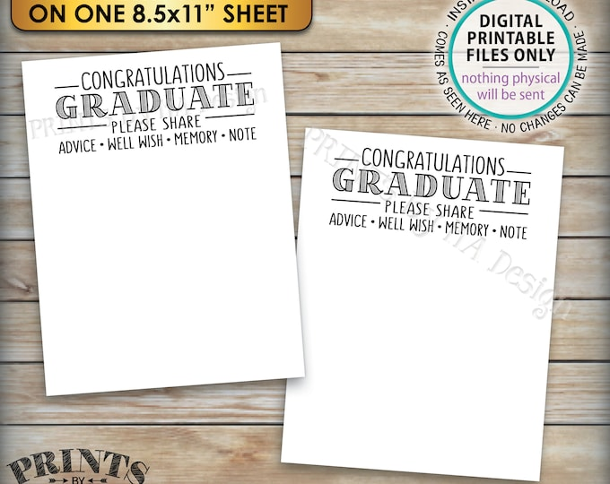 """Congratulations Graduate Cards, Memory, Advice, Well Wishes, Graduation Party, 4.25x5.5"""" cards on PRINTABLE 8.5x11"""" Sheet <ID>"""