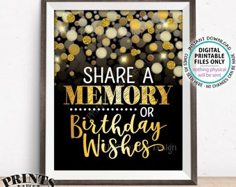 """Share a Memory or Birthday Wishes Sign, Birthday Wish, Memories Sign, PRINTABLE Black & Gold Glitter 8x10"""" B-day Party Decoration <ID>"""