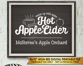 "Hot Apple Cider Sign, Custom Cider Sign, Signature Drink Sign, Fall Apple Orchard Sign, Chalkboard Style PRINTABLE 8x10"" Apple Cider Sign"