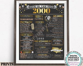 """Back in the Year 2000 Poster Board, Remember 2000 Sign, Flashback to 2000 USA History from 2000, PRINTABLE 16x20"""" Sign <ID>"""