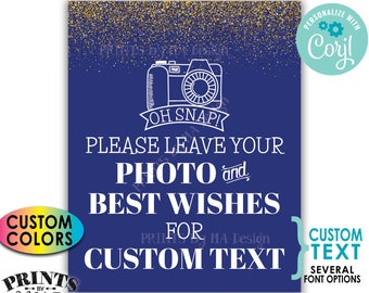 """Please Leave Your Photo & Best Wishes, Custom Text/Background Color, Gold Glitter, PRINTABLE 8x10/16x20"""" Sign <Edit Yourself with Corjl>"""