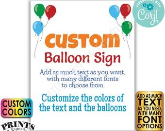"Editable Balloons Sign, One Custom PRINTABLE 8x10/16x20"" Portrait Balloon Sign, Birthday Retirement Graduation <Edit Yourself with Corjl>"